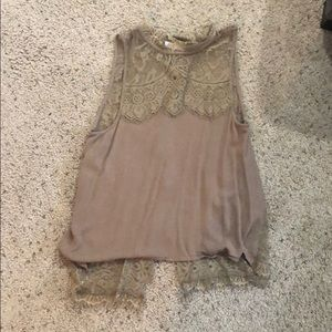 Brown tank with open lace back